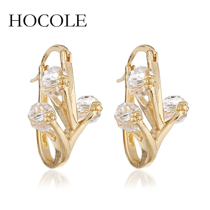 HOCOLE Fashion Metal Small Hoop Earrings Shiny Crystal Beads Gold ... a10b81411973