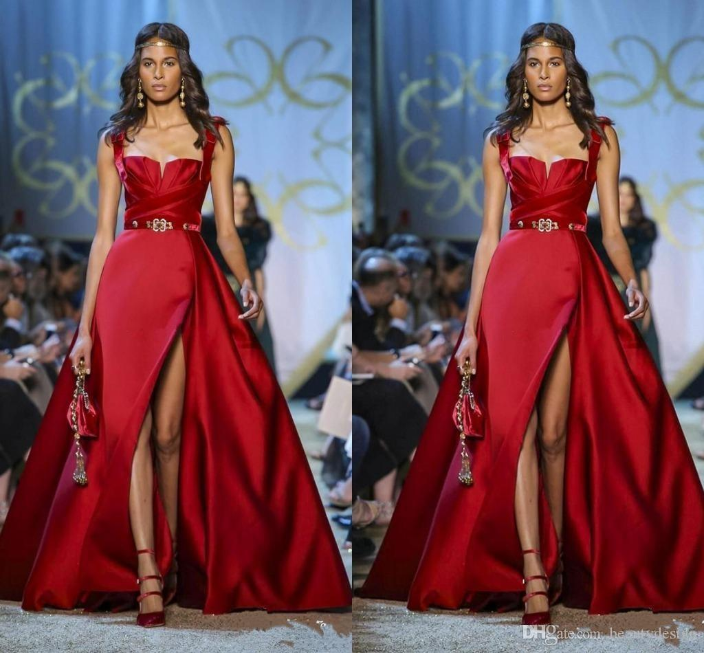 Elie Saab Haute Couture Red Evening Dresses Spaghetti A Line Side ...