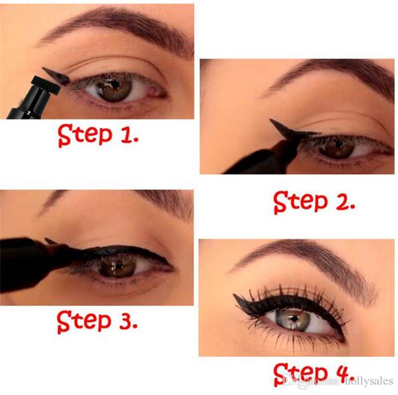 Dual End Black Liquid Eyeliner Pencil Pro Waterproof Long Lasting Makeup Eye Liner Pen+ Cat Line Eye Makeup Stencils