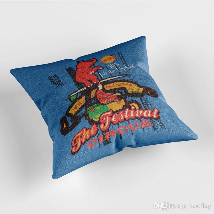 Custom Design Sublimation Printed Home Decor Low MOQ Pattern of Tortoise 18x18inches Cotton Linen Pillow Case