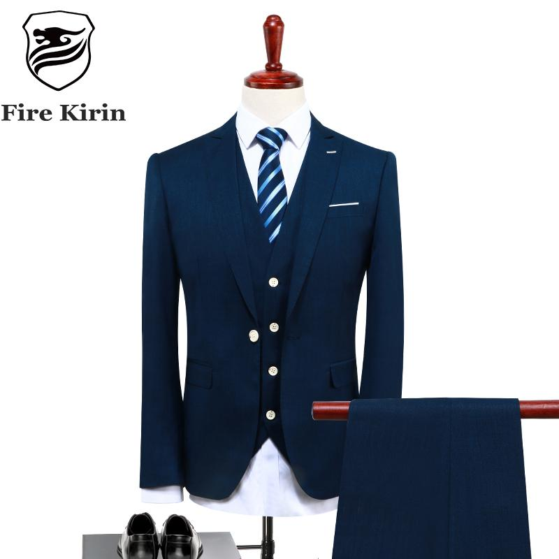 cec5f607a9a 2019 Fire Kirin Mens Suits Designers 2017 Slim Fit Groom Wedding Suit  Latest Blue Business Suit High Quality Formal Wear Q126 From Ferdinand07