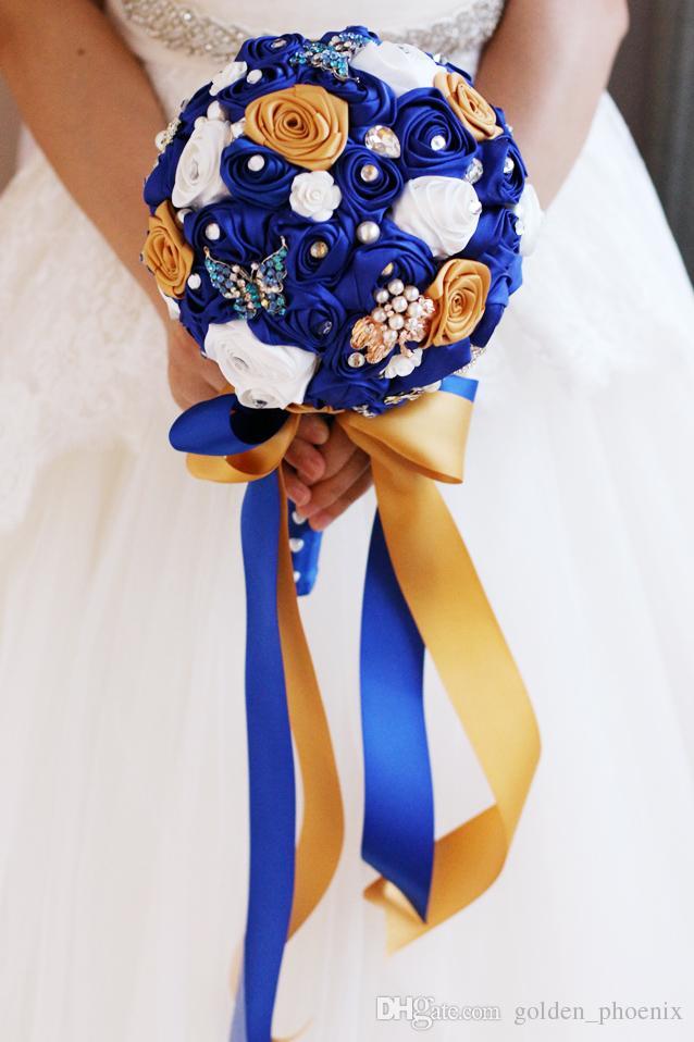 Custom European wedding blue silk rose gold diamond jewelry brooch bride spherical bouquet