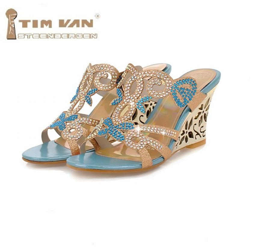 3c391a55bf76 New Summer Women s High Heeled Wedges Slippers Jeweled Rhinestone Sexy  Fashion Slide Sandals Gold 35 43 Blue Plus Big Size Womens Shoes Desert  Boots From ...