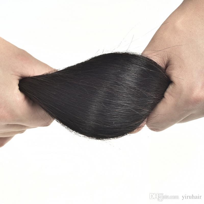 Capelli umani vergini brasiliani peruviani indiani indiani capelli lisci 1 pezzo / lotto estensioni dei capelli un bundle doppio wefts