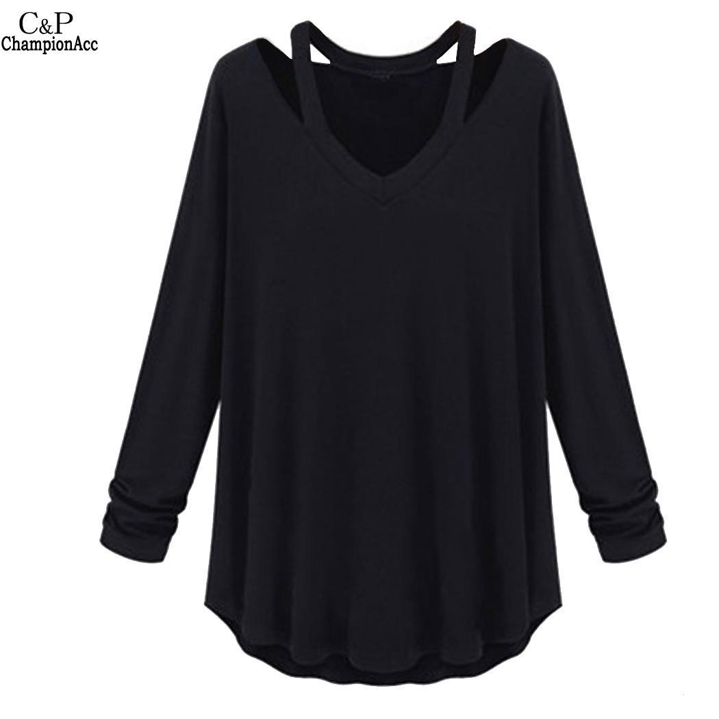 7eb6234a4d9150 Casual Fashion Soft V Neck Solid Women Long Sleeve T Shirt Cotton T Shirts  Fitted Shirts From Guocloth, $37.59| DHgate.Com