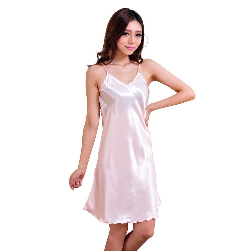 Plus Größe XXXL Rosa Damen Sexy Spaghetti Strap Nachthemd Einfarbig Rüschen Nachtwäsche Satin Nachthemd Frauen Home Wear NR003