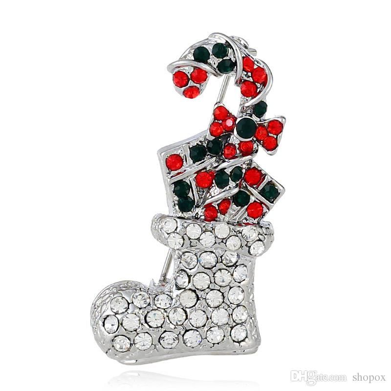 Retro Christmas Brooch Personalized Creative Suits Christmas Socks Pin Jewelry New Boutique Gifts Women's Boutonniere