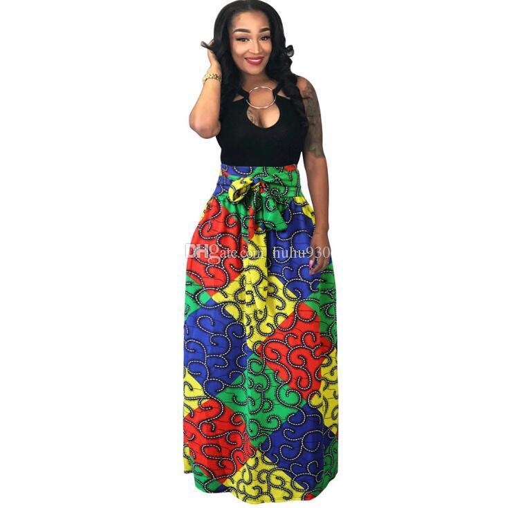 bcb54ac9d6f Acheter Femmes Africaines Boho Dashiki Robe Longue Maxi Jupe Plissée  Impression Buste Jupe Robe De Bal Maxi Jupes Grand Taille 4XL 4 Couleurs De   12.73 Du ...