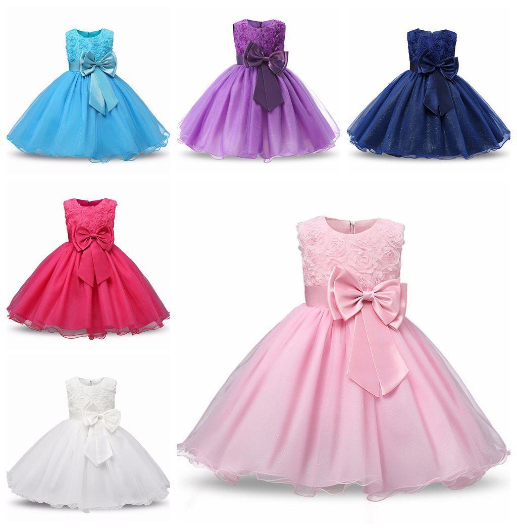 a6242714be35 2019 Bowknot Flower Princess Dress Baby Summer Clothing Children S Wedding  Birthday Party Puff Ball Skirt Costume Girls  Tutu Dress Bridesmaid From ...