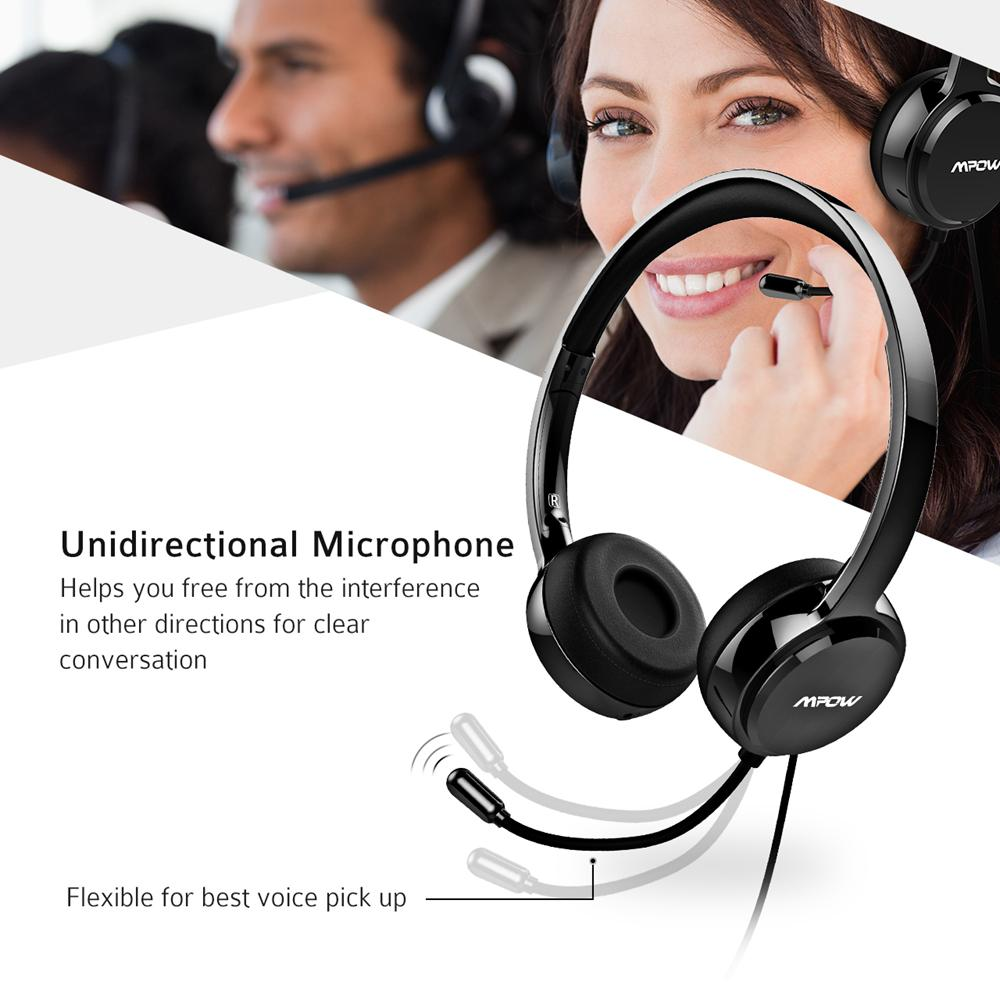 29ba9f7a222 Mpow Headphones USB Headset Stereo Audio W/ Noise Reduction Sound Card, In  Line Control, Protein Memory Earmuffs For Skype Calls Bluetooth Headphones  ...