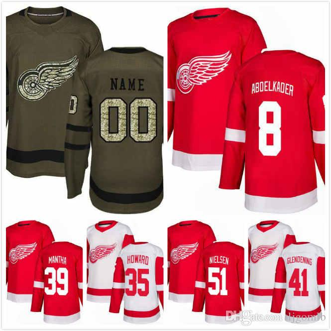 buy online 09d89 e6b9e Anthony Mantha Jersey 39 Frans Nielsen 51 Justin Abdelkader 8 Jimmy Howard  35 Luke Glendening 41 Ice Hockey Jerseys 2018AD Red Wings S-3XL