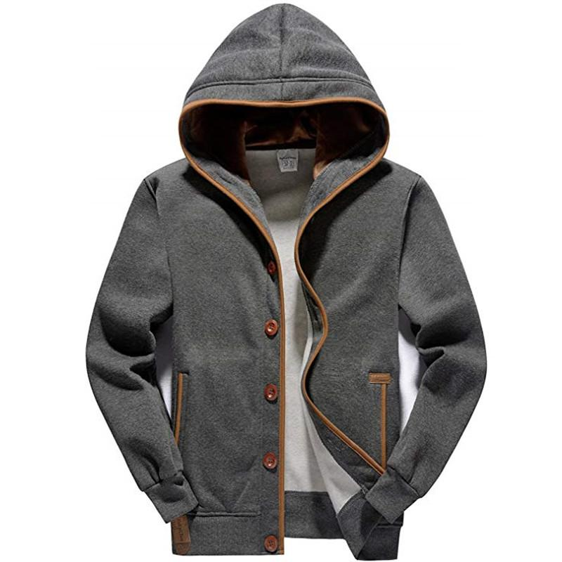 6c090827f Men s Fleece Hoodie Button-up Jacket Hooded Sweatshirt Fashion Male Casual  Winter Slim Fit Jacket New KC-6052