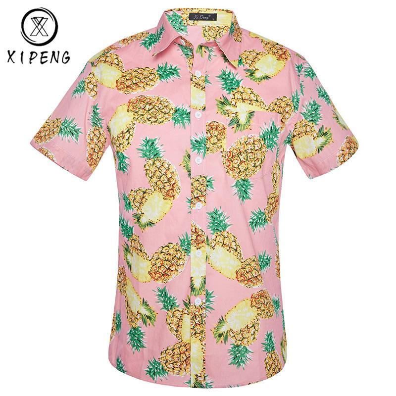 78a0430f4e875 Compre Camisa Hawaiana De La Impresión De La Piña Hombres 2018 Camisa De La  Playa Para Hombre De La Manga Corta De La Marca Del Verano Chemise Homme  Camisa ...
