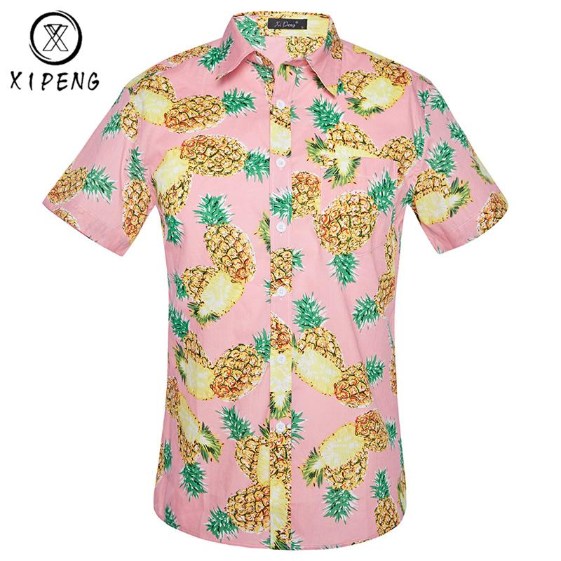 82c9b5d8ba6 2019 Pineapple Print Hawaiian Shirt Men 2018 Summer Brand Short Sleeve Mens  Beach Shirts Chemise Homme Casual Slim Mens Dress Shirt From Edwiin04
