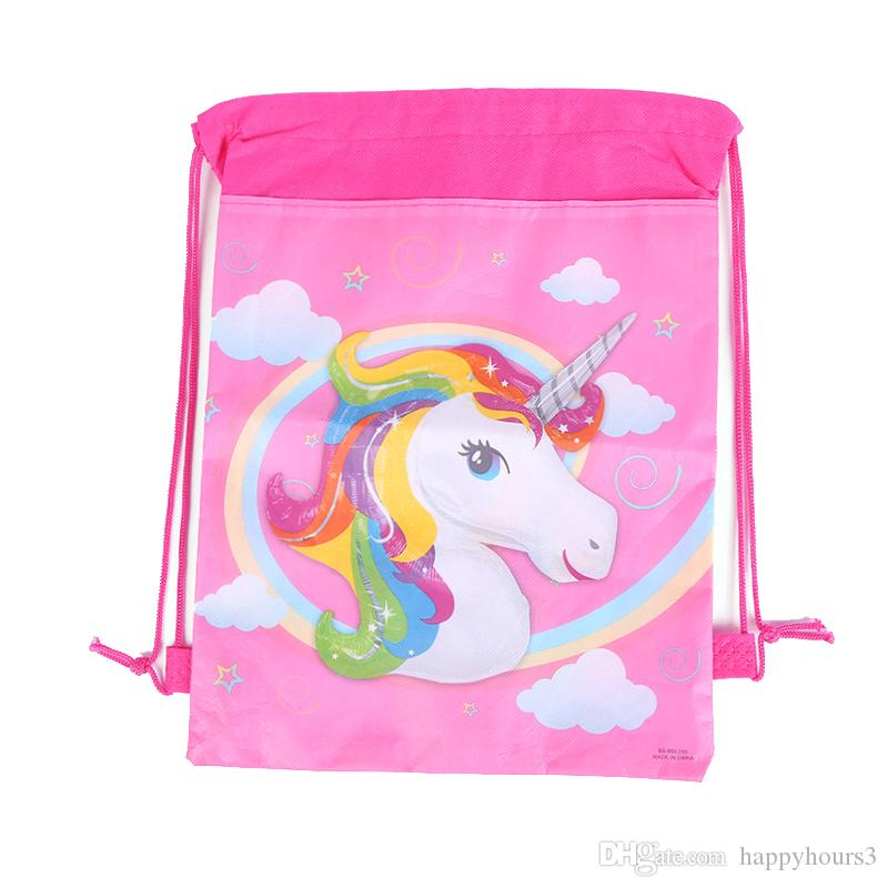 Wholesale-24pcs Festive Party Supplies Unicorn Drawstring Bag Children's Day,Birthday Party Favors Kids Back to School Gifts