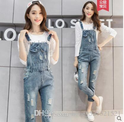 f7b477bf928f 2019 New Korean Fashion Women S Loose Light Blue Ripped Holes Denim Jeans  Suspender Nine Pants Jumpsuit Plus Size SMLXLXXL Rompers From  Honey521521521