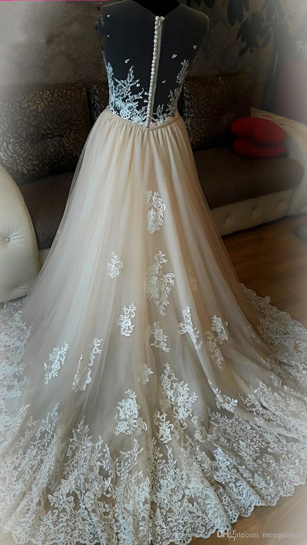 2019 Модное кружевное свадебное платье светло-розового цвета. Съемный бисерный пояс.
