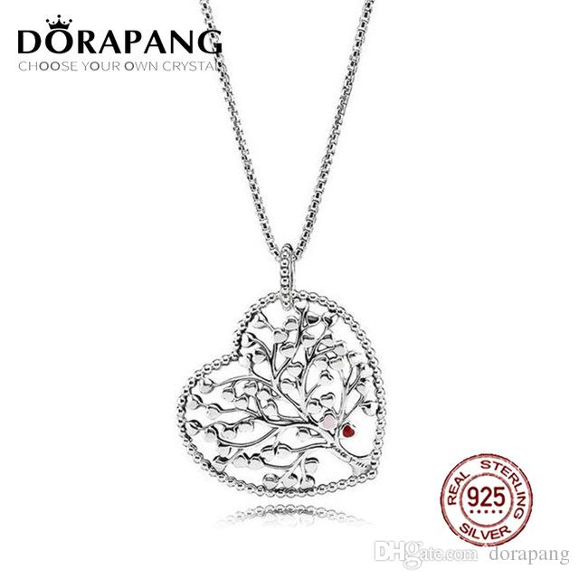DORAPANG 100% 925 Sterling Silver Tree of Love Necklace Mixed Enamel Pendant Charms Bead For Mother Gift Bracelet DIY