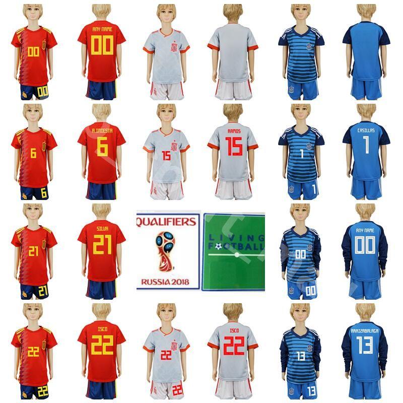 ... 2019 youth spain jersey soccer 21 silva 22 isco children football shirt  kits 19 diego costa 7d0ad3c9c