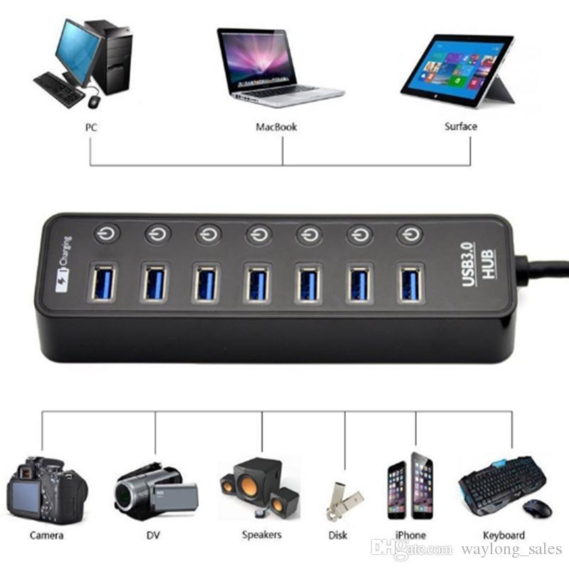 USB 3.0 HUB 7 Port Güç Şarj ve Anahtarı ile Çoklu USB Splitter Paneli USB3.0 Şarj hub kargo ücretsiz