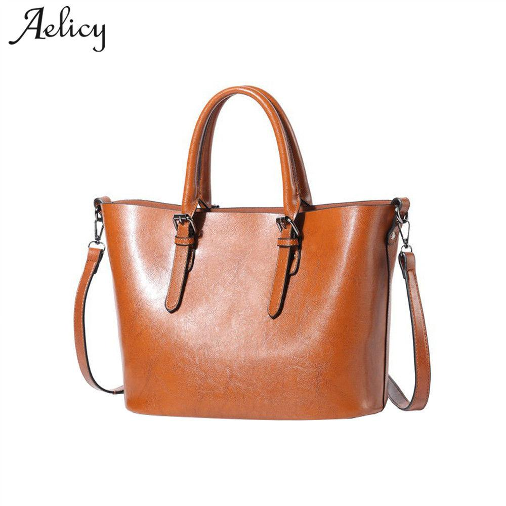 Aelicy Luxury Fashion Women Handbags Oil Wax Leather Large Capacity Tote Bag  Pu Leather Fake Designer Handbags Day Clutches Luxury Bags Handbags  Wholesale ... 0321ca3800