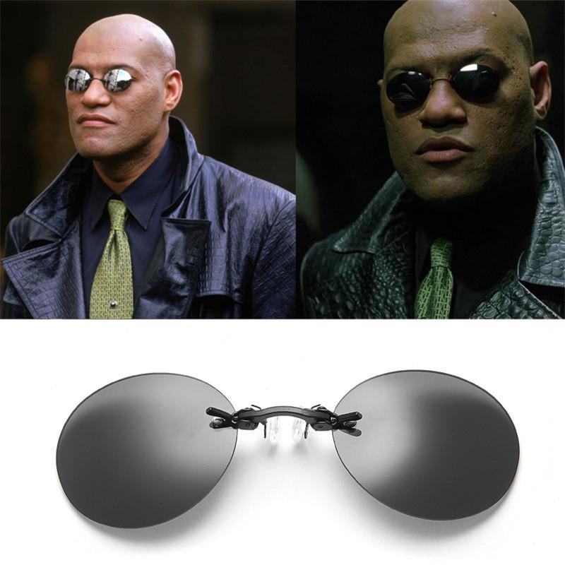 Clip On Nose Sunglasses Men Retro Hacker Empire Matrix Morpheus Rimless Sun Glasses  Vintage Round Glasses Mens Oculos De UV400 Super Sunglasses Victoria ... 39629ea4b1b3