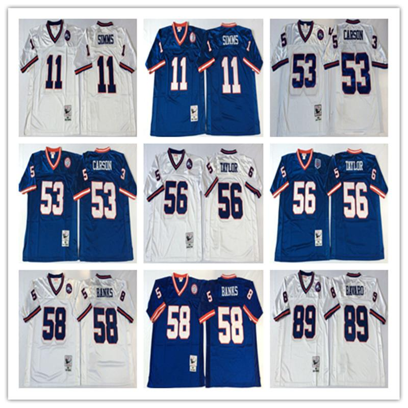 ... Throwbacked New York Giants Jerseys Men 11 Phil Simms 53 Harry Carson  56 Lawrence Taylor 58 ... d36b69a78