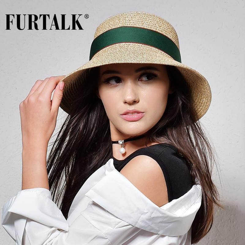 d1c90a72d20 FURTALK Summer Hat For Women Straw Hat For Beach Sun Travel Bucket Panama  Floppy Hats Black Floppy Hat From Fabuline