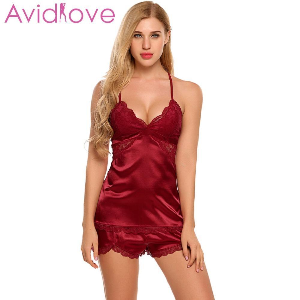 87fae045027096 Avidlove Sexy Damen Schlafanzüge Nachtwäsche Lace Pyjamas New Sexy  Nachtwäsche Plus Size Lace Nachthemd Satin Nachtwäsche Dessous Set Y18102205
