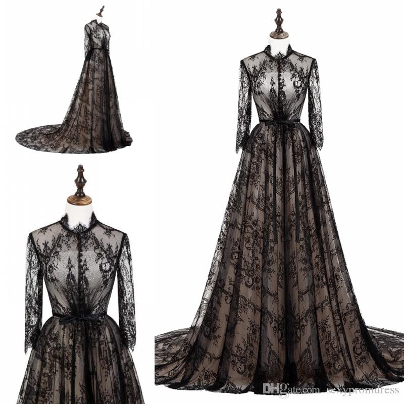 Black Lace See Through Prom Dresses Illusion Long Sleeves High Neck ...