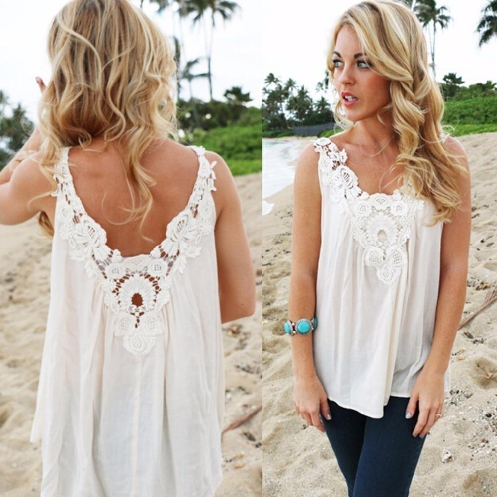 16e37c928ce 2018 New Fashion Women Lady V Back Vest Top Sleeveless Blouse Casual ...