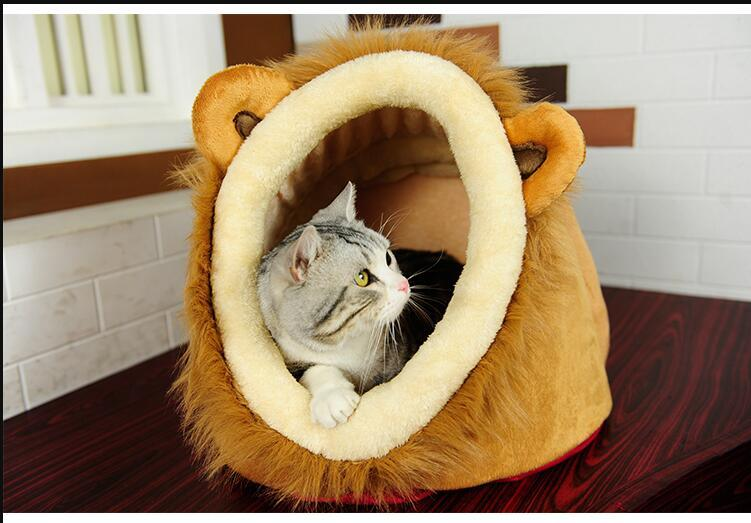 Hot sale Cat House Lion Leopard Grain Cat Bed Cute Dog House Teddy Puppy Bed Detachable Yurt Large Size