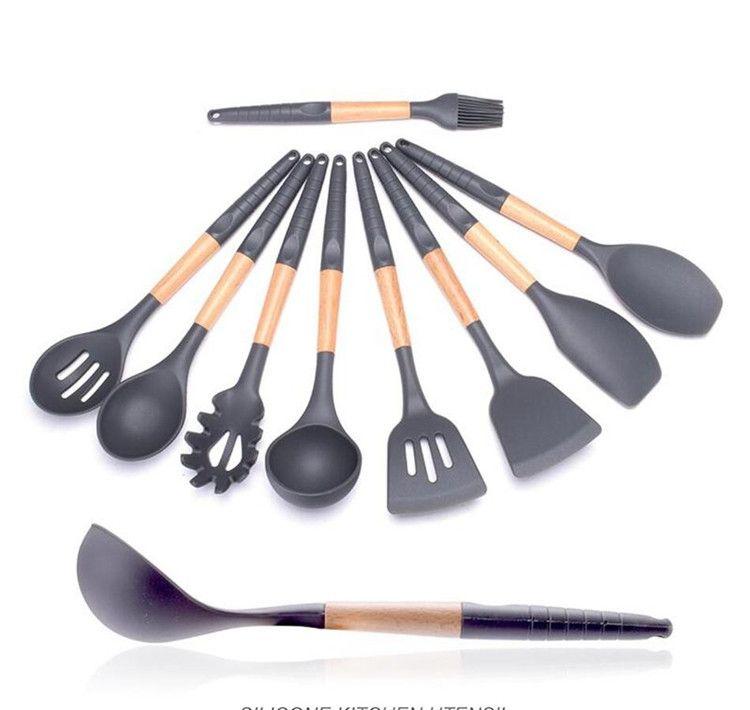 Mango de madera de silicona utensilios de cocina para la cocina ranurado Turner cuchara cucharón herramientas de espagueti juegos de cocina 120 unids IB624
