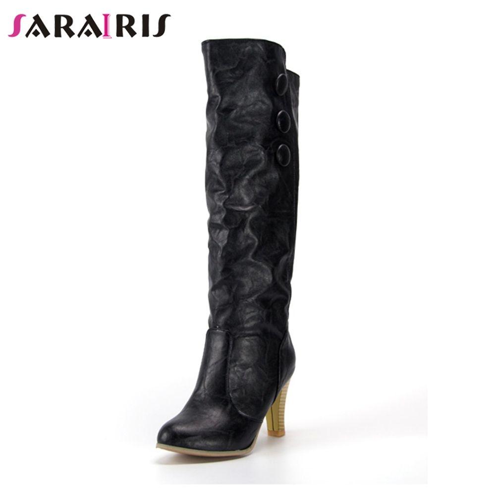 3ce04e61c7cb40 Großhandel SARAIRIS Brand New Solid Square High Heels Taste Schuhe Frau  Casual Herbst Kniehohe Stiefel Schwarz Große Größe 34 43 Von Caspink