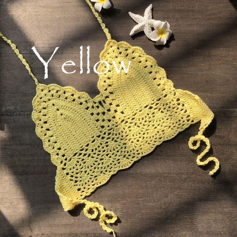 Sexy Womens Halter Neck Crop Top V Knit Crochet Cami Summer Fashion Bikini Lace Crochet Hollow Out Bra