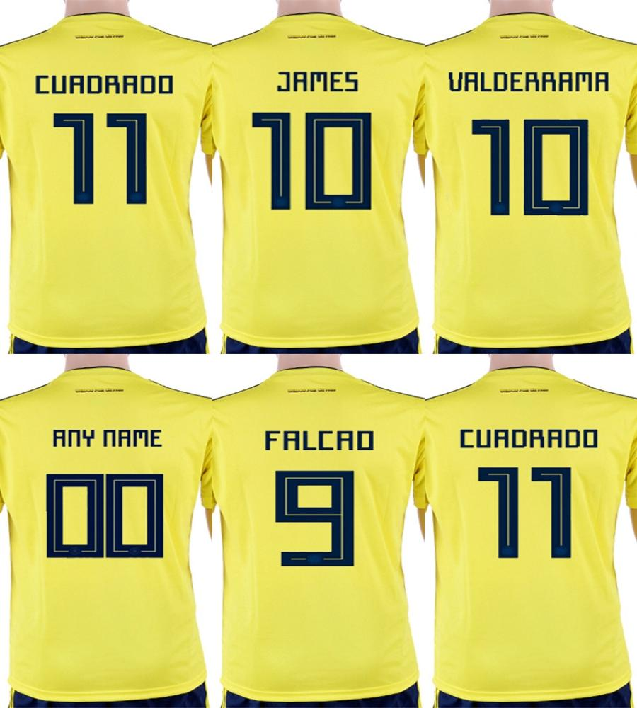 Online Cheap Cheap Custom 2018 World Cup Colombia Men Lady Youth 10 James 9  Falcao 11 Cuadrad 8 Aguilar Guarin Sanchez Home Soccer Football Jerseys By  ... 36f3df03a