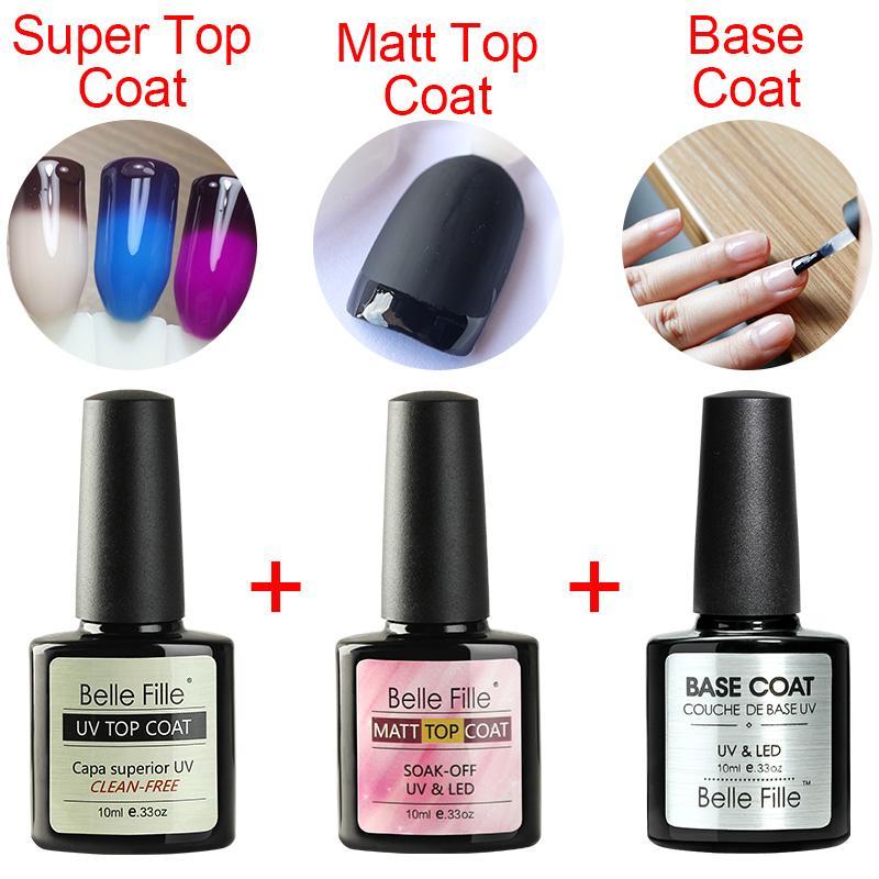 Belle Fille Gel Nail Polish Base Coat + Top Coat 10ml UV LED Matt ...