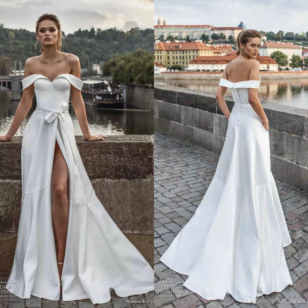 Discount Designer Wedding Gowns: Discount 2019 Satin Designer Wedding Dresses Off Shoulder