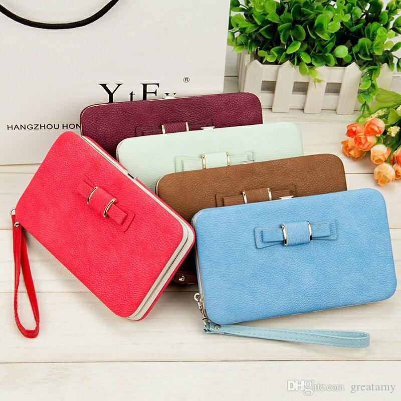 9d0999333173 10 colors Women s Bowknot Wallet Long Purse Phone Holder Clutch Large  Capacity Pocket Bow Coin Pocket Gift Wallet