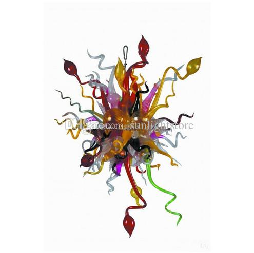 European Type Blown Glass Chandelier Modern LED Light Source Chihuly Style Art Decor Glass Material Lighting