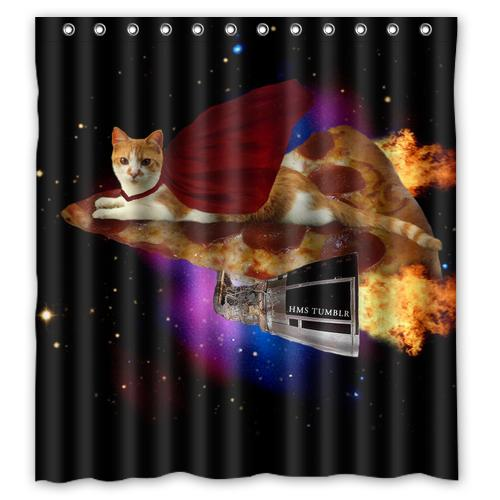 2019 Space Cat And Pizza Custom Design Fashion Waterproof Shower Curtain Bathroom Products Curtains Size 48x7260x7266x72 Inches From Sheiler