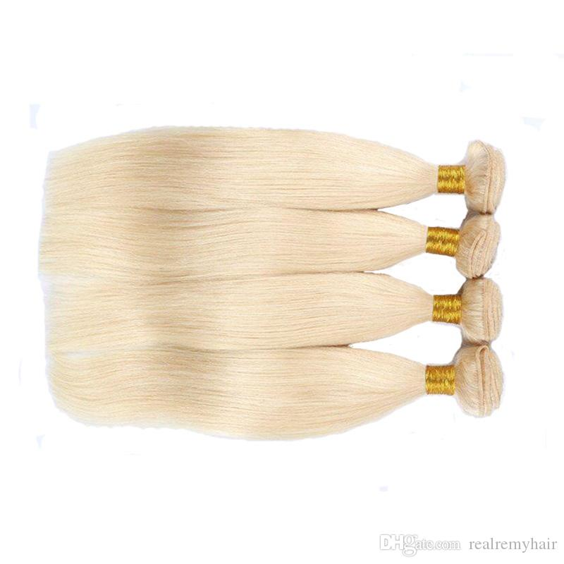Bleached Brazilian Virgin Hair 4 Bundles Straight 613# Honey Blonde Human Hair Weave Wholesale Brazilian Virgin Human Hair Extensions