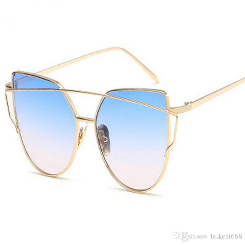 1ba9b383c9 Hot Sale Mirror Flat Lense Women Cat Eye Sunglasses Classic Brand ...