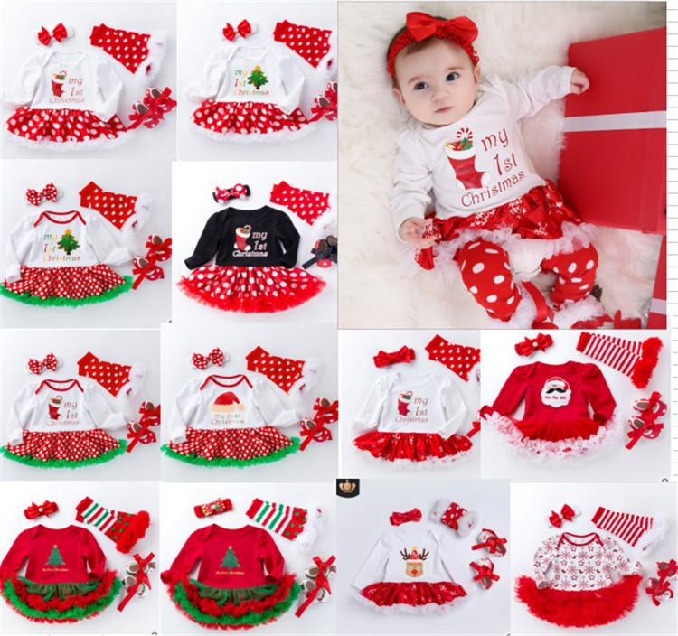84fbb1fbd Newborn Baby Christmas Romper Set Toddler Babysuit Tutu Dress & Stocking &  Bowknot Headband & Prewalker Infant Outfit Costume Clothes Group Halloween  ...