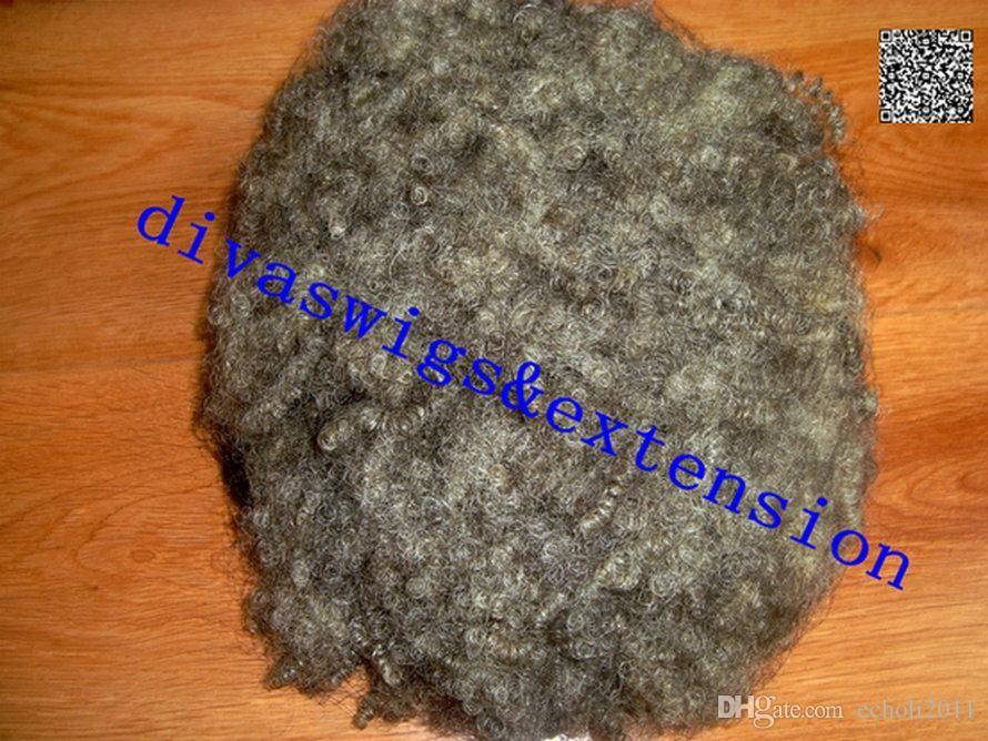 Extensión gris del pelo de las mujeres negras plata gris puff rizado cordón rizado cordón coletas de pelo clip en pelo real 100g 120g