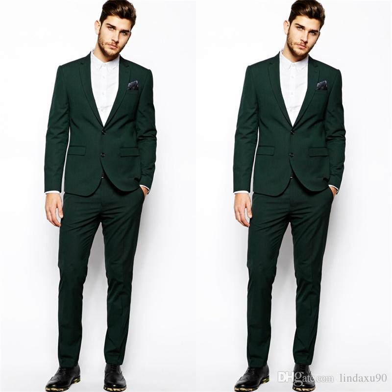 Quelque chose de nouveau assez Acheter 2019 Designer Vert Foncé Mens Costume Deux Pièces Costume @ZS_87