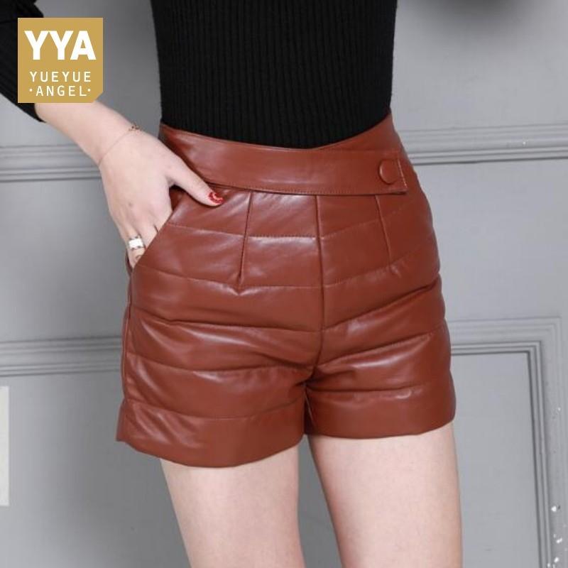 Haute De Marque Acheter Véritable Shorts Mouton Streetwear Peau Taille Shorts Femmes Dames Court Style En Pantalon Cuir Hiver Chaud De Plaid Angleterre En BB0Hgq