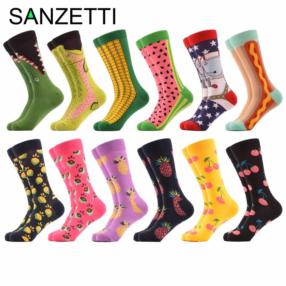 489595f8b SANZETTI 12 Pairs/lot Men's Novelty Fruit Funny Socks Colorful Combed  Cotton Corn Space Man Hot Dog Watermelon Casual Crew Socks