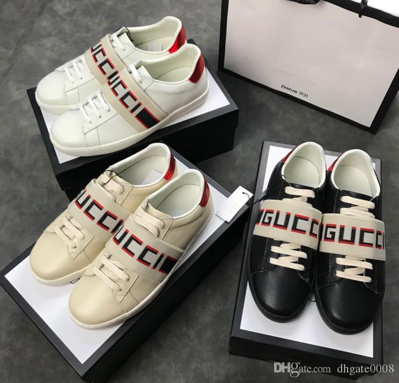 147421f8426 2018 Designer Shoes Men Women Shoes Genuine Leather Designer Sneaker ...