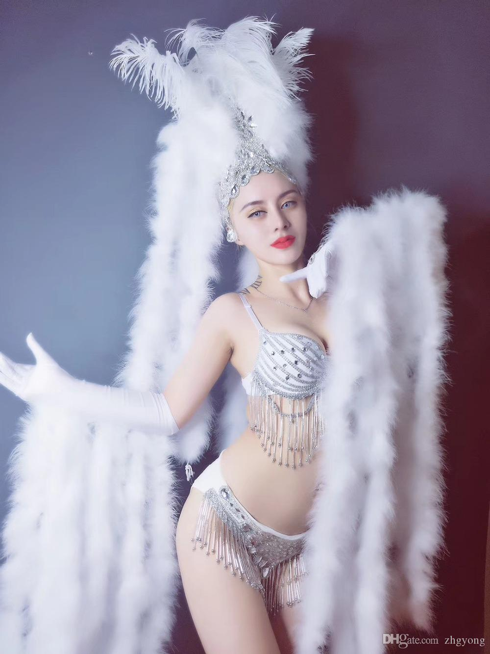 Sexy White Feathers Gloves Headdress Sparkly Crystals Bikini Set Nightclub Female Party Models Catwalk Stage Outfit DJ Costume